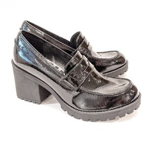 Dirty Laundry black patent chunky loafers 6.5